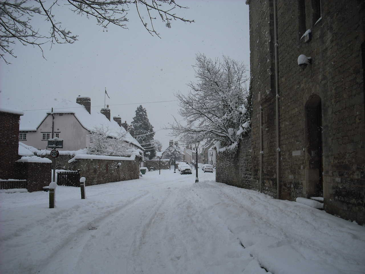 View towards church in snow 2010